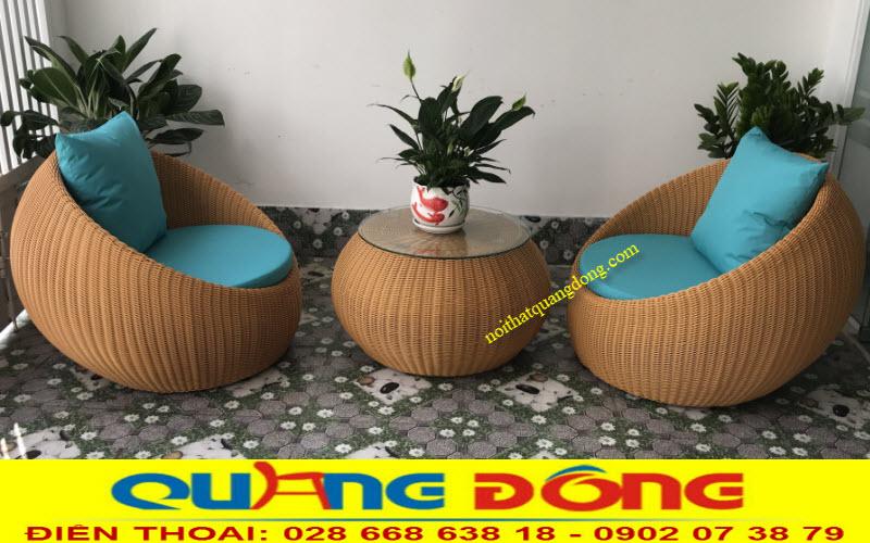 Mẫu bàn ghế giả mây QD-306 sử dụng thay thế sofa sân vườn, êm ái và đẹp mắt