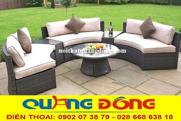 Mẫu sofa sân vườn QD-605 bằng mây nhựa cao cấp