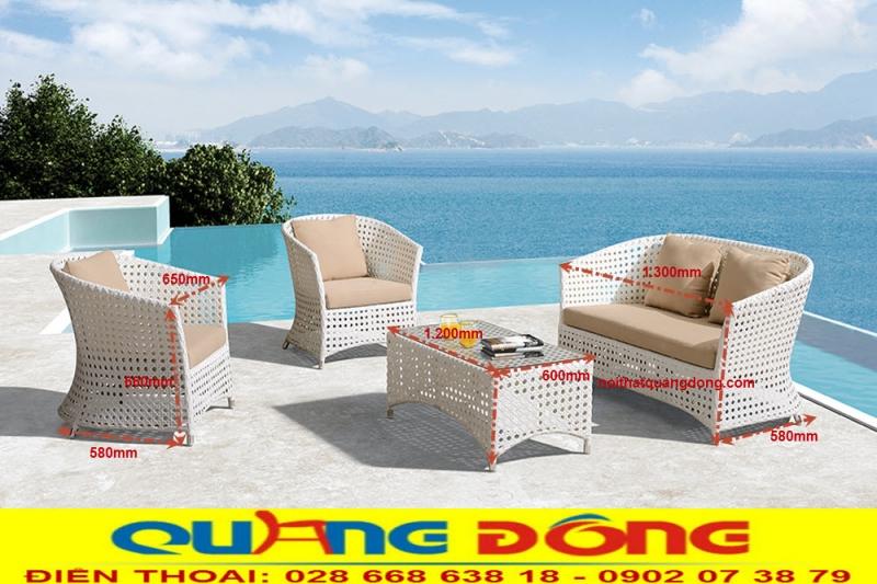 Thiết kế sofa giả mây QD-647 với sự cách điệu uốn cong nhẹ nhàng tinh tế