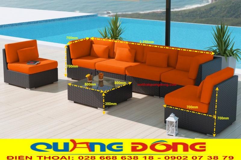 Thiết kế sofa mây nhựa QD-656 có thể linh hoạt