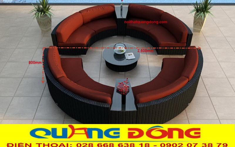 Mẫu sofa mây nhựa tạo dáng tròn thiết kế chất lượng tại Quang Đông
