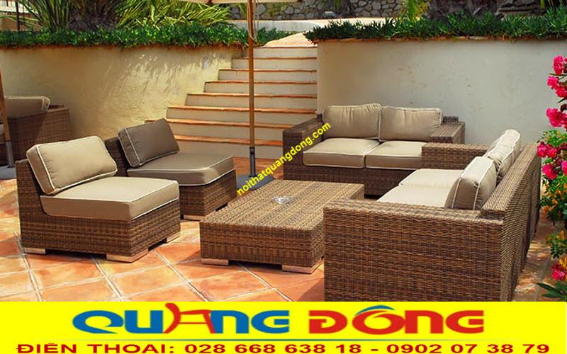 Mẫu sofa giả mây QD-624 sử dụng cho không gian sân vườn được sản xuất bởi nội thất Quang Đông