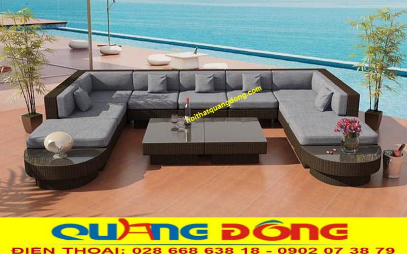 thiết kế sofa mây nhựa QD-643 cho sân vườn, ngoài trời sang trọng