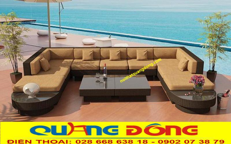 cá tính, chất lượng với mẫu sofa mây nhựa QD-643 màu nâu da bò