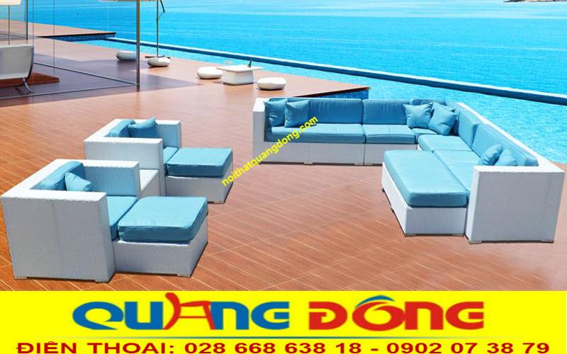 sofa mây nhựa QD-644 hòa quyện với mây trời với sự kết hợp 2 màu xanh trắng