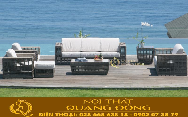 Góc nhìn khác không kém phần sang trọng  của bộ sofa giả mây quyền lực QD-648