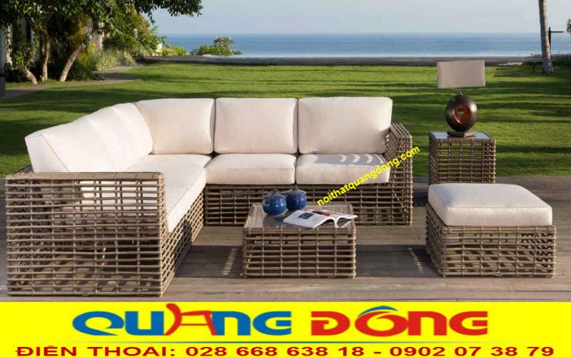 sofa giả mây QD-649 sử dụng ở không gian sân vườn