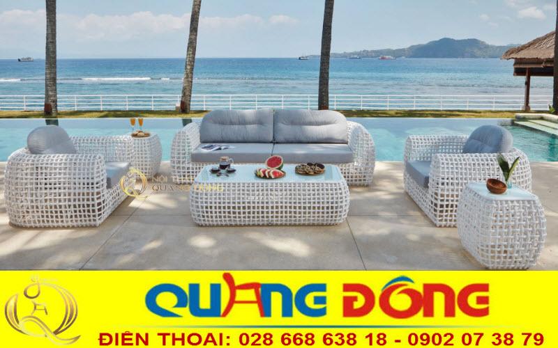 Trắng xám kết hợp như một tuyệt tác dành riêng cho bộ sofa giả mây QD-650