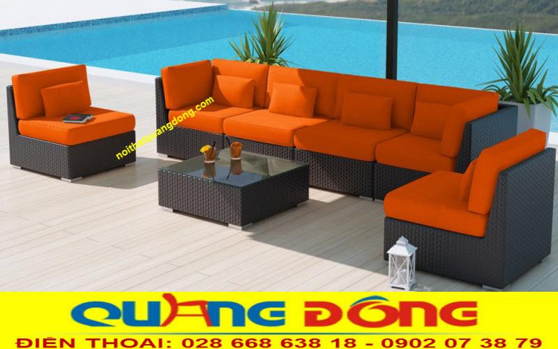 sofa giả mây QD-656 có thể để trong nhà lẫn ngoài trời