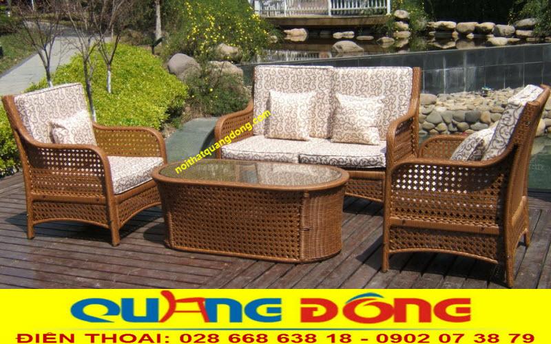 sofa giả mây cao cấp QD-657 sử dụng màu vàng mây tự nhiên