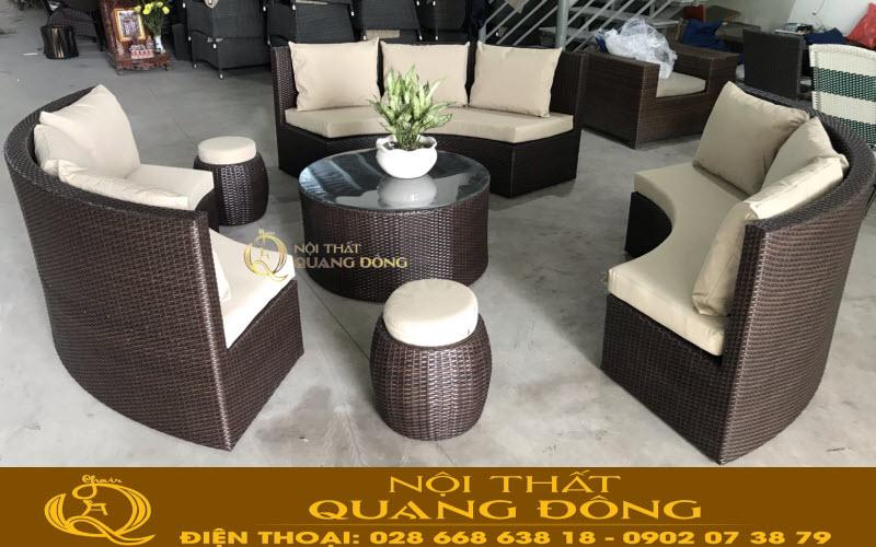 Sofa giả mây QD-702 được hoàn thiện suất sắc thích hơp cho không gian sân vườn